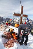 Alpinists celebrating a successfull climb