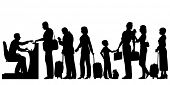 Editable vector silhouettes of a queue of people at an immigration desk with all figures and luggage