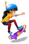 image of headgear  - Illustration of a young girl skateboarding on a white background - JPG