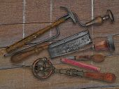 Vintage Woodworking Tools Over Drift Wood