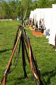 Stacked Confederate Army Rifles