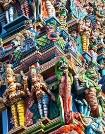 stock photo of meenakshi  - Detail of Meenakshi Temple in Madurai India - JPG
