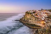Azenhas Do Mar, Sintra, Portugal townscape on the coast.