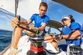 PATRAS, GREECE - OCT 2, 2014: Unidentified sailors participate in sailing regatta