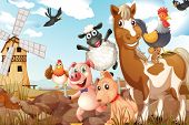 Illustration of many animals in a farm