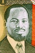MOZAMBIQUE - CIRCA 1991: Joaquim Chissano (born 1939) on 10000 Meticais 1991 Banknote from Mozambique. President of Mozambique during1986-2005.