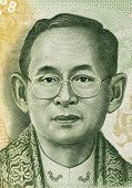 THAILAND - CIRCA 2013: King Rama IX (born 1927) on 20 Baht 2013 Banknote from Thailand. King of Thailand.