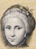 DENMARK - CIRCA 1972: Catherine Sophie Kirchhoff on 10 Kroner 1972 Banknote from Denmark.