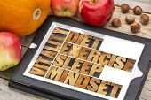 diet, sleep, exercise and mindset - vitality concept - abstract in vintage letterpress wood type on a digital tablet with apples, pumpkin and hazelnuts