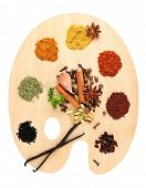 Painting palette with various spices and herbs, isolated on white