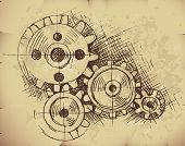 Vector gears on old paper