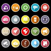 Smart Phone Screen Flat Icons With Long Shadow