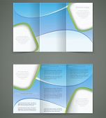 Vector Blue Brochure Layout Design, Business Three Fold Flyer Template,