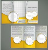 Vector Silver Brochure Layout Design With Yellow Elements, Business Three Fold Flyer Template