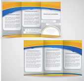 Vector Blue Brochure Layout Design With Yellow Elements, Business Three Fold Flyer Template
