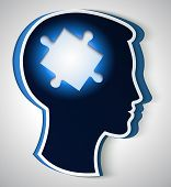 Human Head. Concept Of A New Idea, Piece Of The Puzzle In The Form A Brain In Blue Color