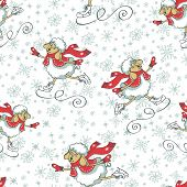 New year cheep skating.Seamless pattern.Christmas