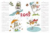 New year 2015. Calendar. Sheep in time of year