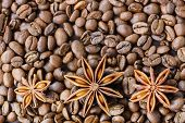 Roasted coffee beans with anise