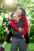 Sports couple in the park