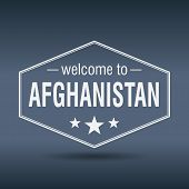 Welcome To Afghanistan Hexagonal White Vintage Label