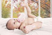 Baby Girl Drinks Milk Bottle