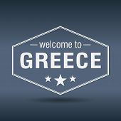 Welcome To Greece Hexagonal White Vintage Label