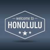 Welcome To Honolulu Hexagonal White Vintage Label
