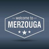 Welcome To Merzouga Hexagonal White Vintage Label