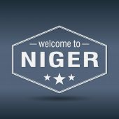 Welcome To Niger Hexagonal White Vintage Label