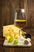 White Wine With Grapes And Cheese