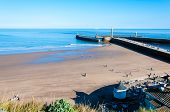 View Of Whitby Beach In A Sunny Autumn Day, UK