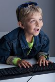 Little Boy Living In Virtual World