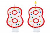 Birthday Candles Number Eight Isolated On White
