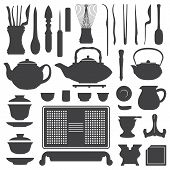 tea ceremony equipment silhouette set