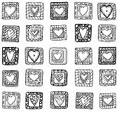 Collection of original drawing doodle hearts.