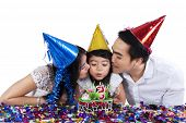 Sweet Girl With Her Parents Celebrate Birthday