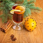 Mulled wine  with fir branches