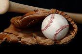 Baseball and Bat and Glove on black