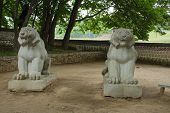 two stone lions