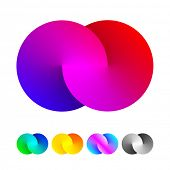 Abstract sign of two merged circles. Infinity sign. Spectrum icon.