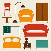 Interior icon set with furniture in retro style.