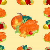 Seamless Texure Turkey And Fruit Day Thanksgiving Vector