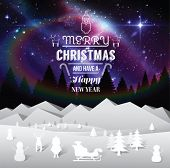 Digitally generated Aurora sky with cute christmas illustrations and message