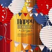 Birthday card with balloons in the style of flat folded paper and bunting flags.