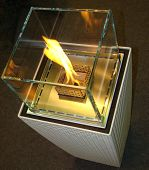 Bio Fireplace glass and metal with fire