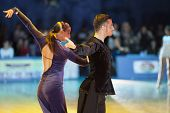 Minsk-belarus, October 18, 2014: Unidentified Dance Couple Performs Adult Latin-american Program On