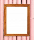 Blank Wood Frame On Bamboo Wall