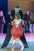 Minsk-belarus, October 18, 2014: Matvey Smirnov-dariya Prokopenko Perform Adult Latin-american Progr