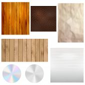Set Of Realistic Textures - Wood, Leather, Paper, Metal